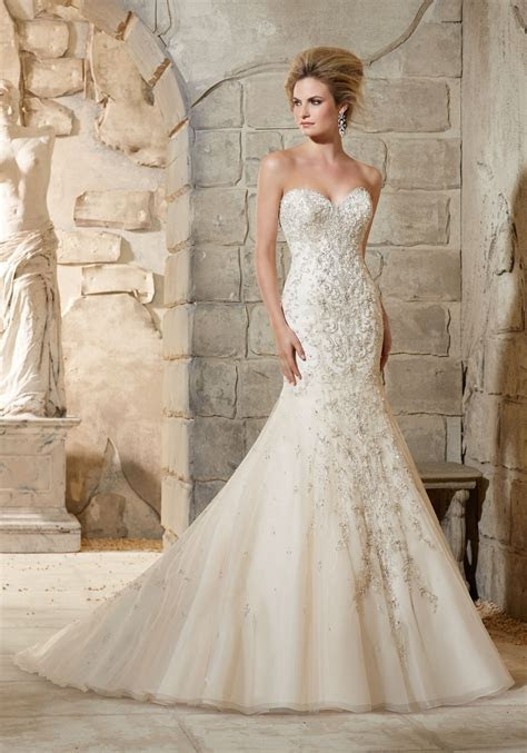 Crystal Beaded Embroidery over Net Wedding Dress   Style