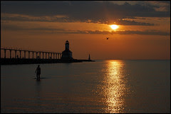Michigan City Light at Sunset