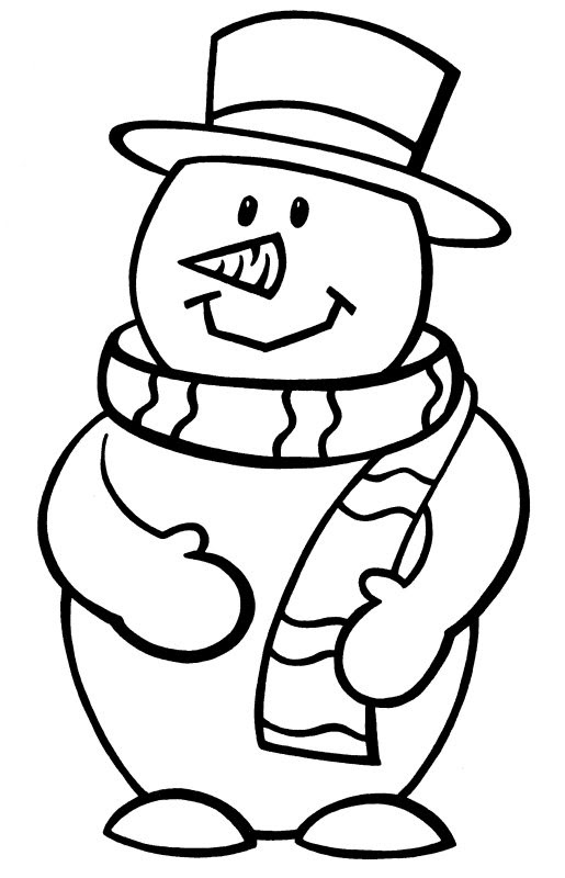 Coloring Pages For Kids Snowman Drawing With Crayons