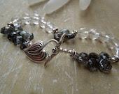 Ava-Black Rutilated Quartz, Rock Crystal Quartz & Sterling Silver Bracelet