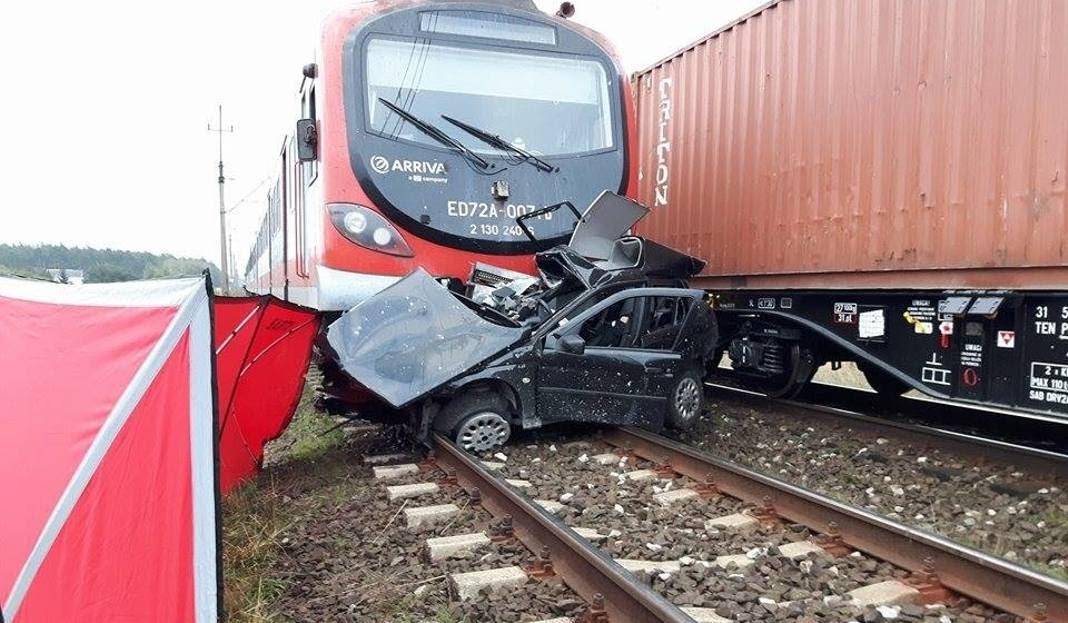 Tragiczny wypadek w przejeździe kolejowym. Dwie osoby nie żyją