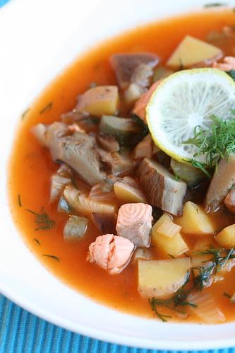 Salmon and mushroom solyanka / Seene-lõheseljanka