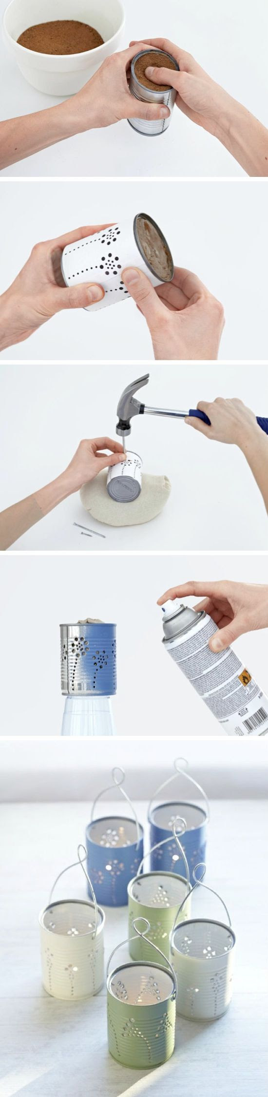 DIY Tin Can Lanterns ~~ Recycle tin cans into beautiful lanterns for just about any holiday or occasion!