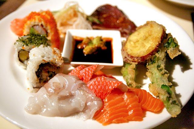 Mixed sushi, sashimi, katsuo tataki and tempura