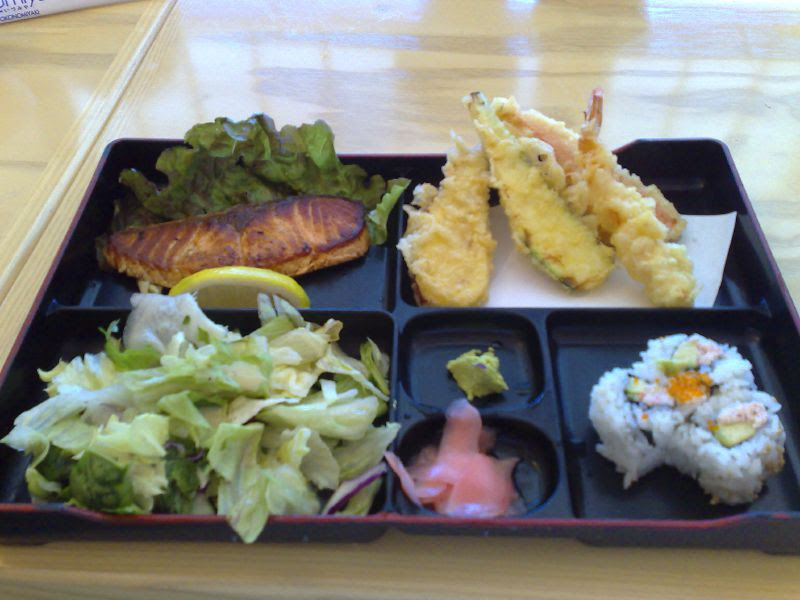 Bento Box Tempura & Salmon