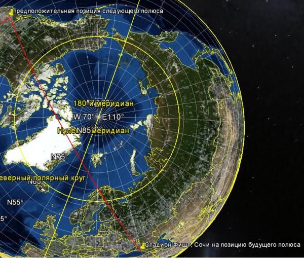 Общий вид из космоса на стадион Фишт и предполагаемый будущий полюс