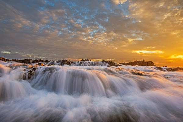 Palos Verdes sunset high tide water flow