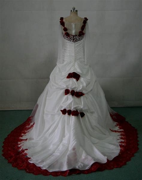 white wedding dress  red roses naf dresses