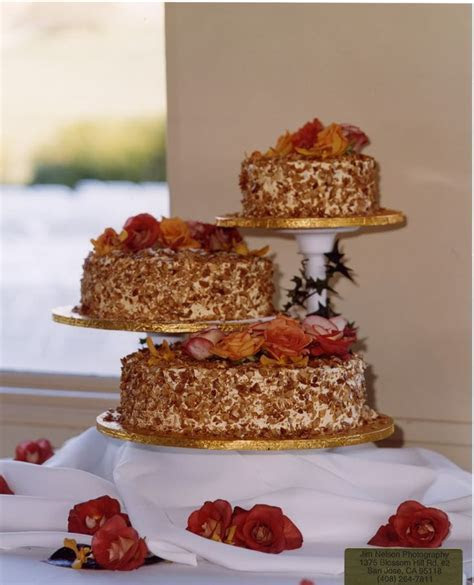 Burnt Almond Wedding Cake from Dick's bakery in San Jose
