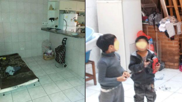 Cama improvisada e filhos de trabalhadores