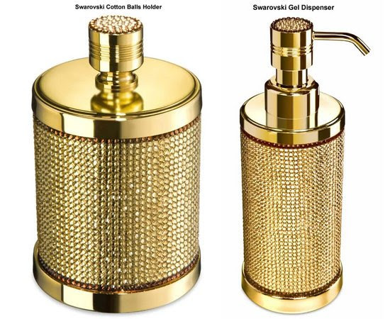 Gold-plated bath accessories glamorized with Swarovski crystals ...