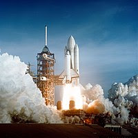The April 12 launch at Pad 39A of STS-1, just ...