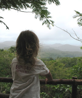My son enjoys the view over the hills of Phuket
