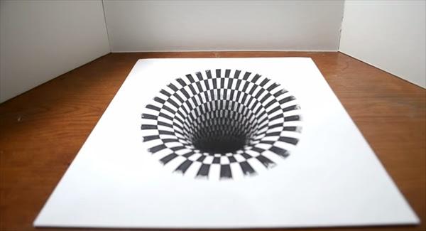 見つめていると吸い込まれそうになる フリーハンドで描かれた平面の穴
