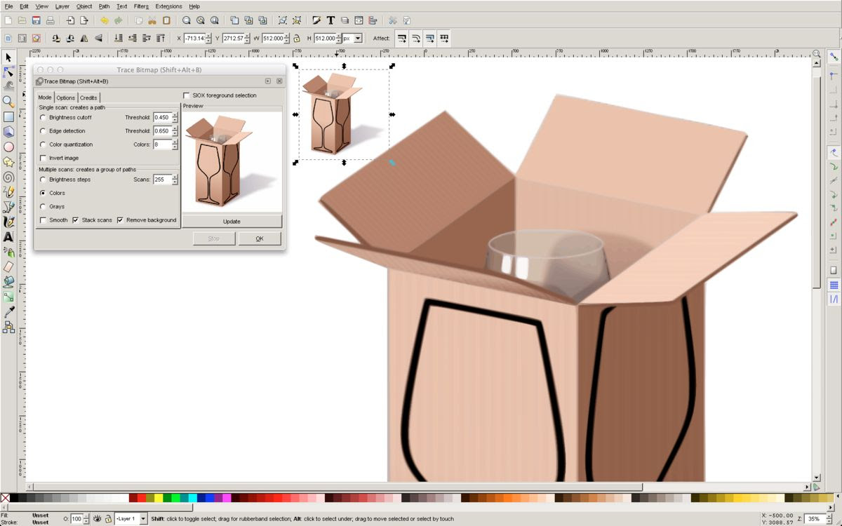 Running Inkscape with WineBottler.