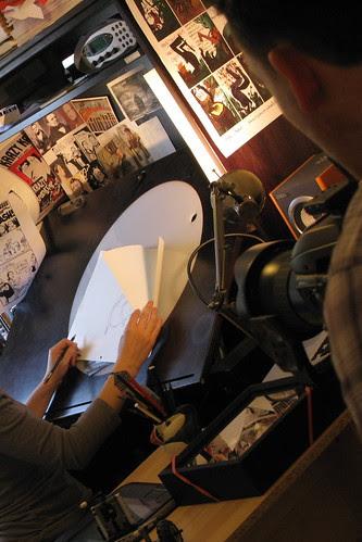 Ben sets up a shot of Sydney sketching