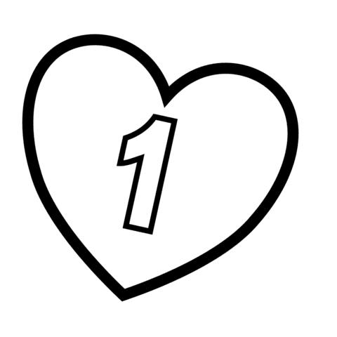 Dibujo De Numero 1 En Un Corazon Para Colorear Dibujos Para