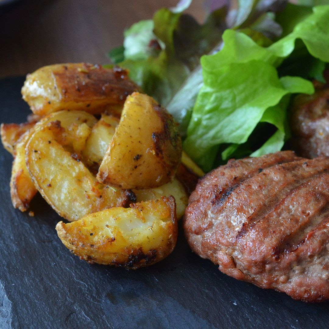 Home-made Tikka Burgers and Southern Fried Wedges