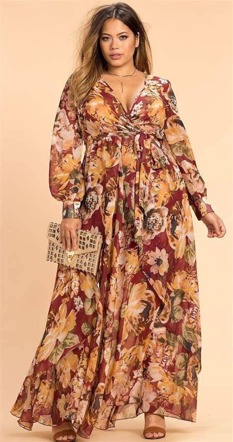Plus Size Autumn Floral Maxi Dress   Plus Size Fashion