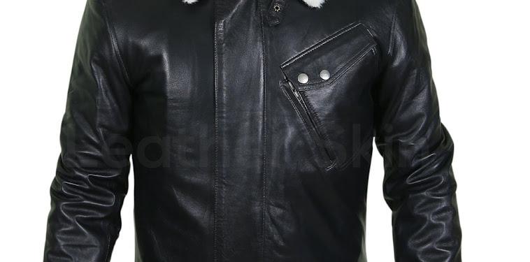 Black Jacket White Fur Collar Mens