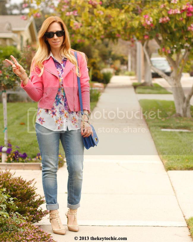 Boohoo Lexie studded kitten heels, Mossimo cropped jeans, Mossimo floral sleeveless blouse, H&M tweed blazer, L.A. fashion blog