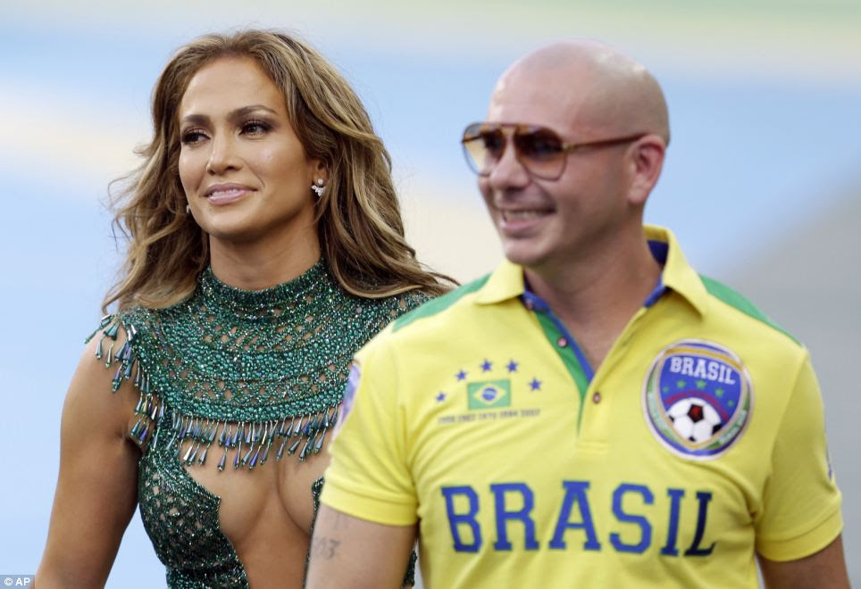 Jennifer Lopez performed with rapper Pitbull ahead of the group A match between Brazil and Croatia, which is the opening game of the 2014 tournament