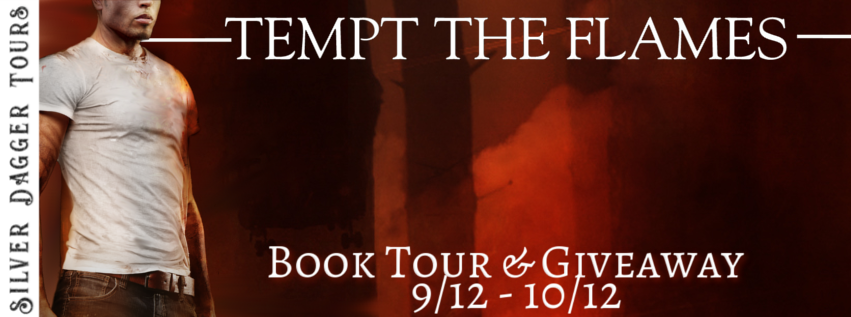 Book Tour Banner for romantic susprnse novel Tempt the Flames from The Smokejumpers series by Marnee Blake with a Book Tour Giveaway
