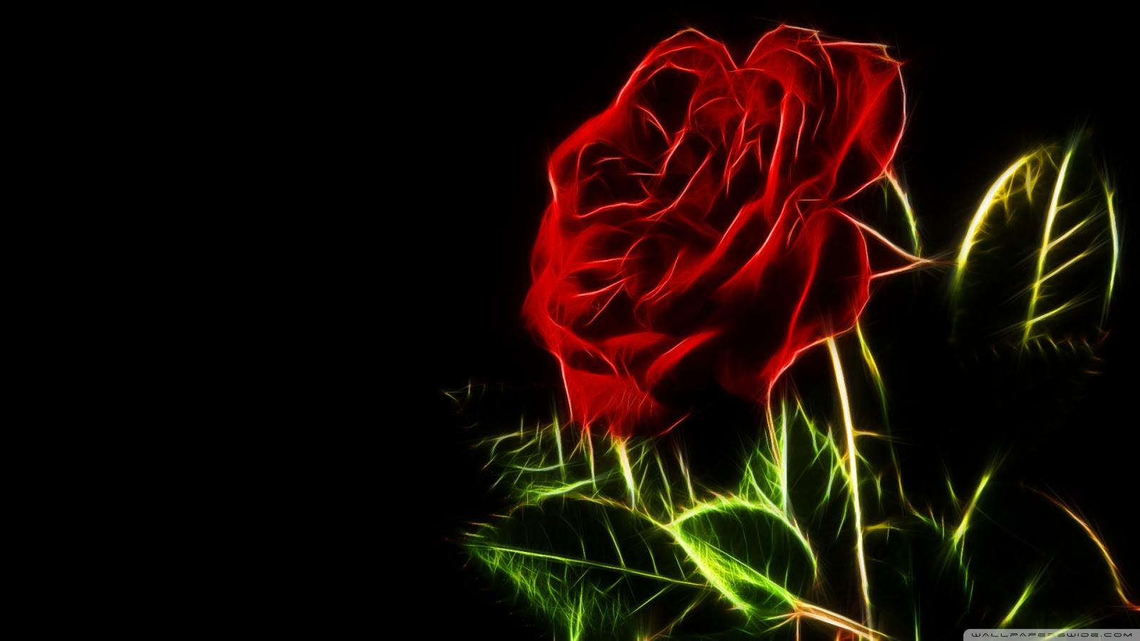 Neon Red Rose Wallpaper