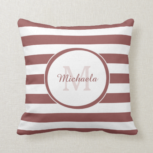 Trendy Rosy Brown White Stripes Monogram With Name Pillows
