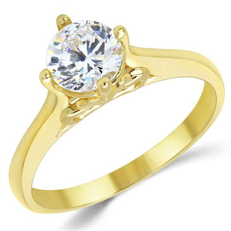 solid yellow gold cz cubic zirconia solitaire