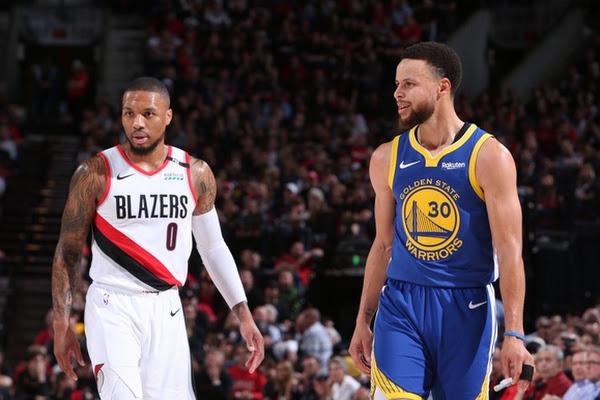 008b7794d18640 Warriors push Blazers to brink, inch closer to NBA Finals