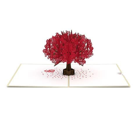 Red Sakura Tree Pop up Card   Lovepop