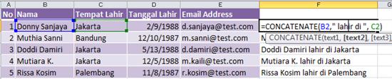 Masih meneruskan perihal pembahasan menggabungkan beberapa cell ke dalam satu cell di Exc Menggabungkan Data Teks dan Waktu (Jam) di Excel