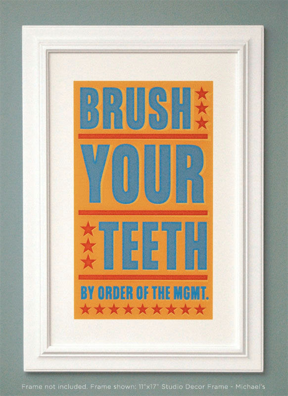 Bathroom Art Kids Wall Decor Brush Your Teeth By Order Of