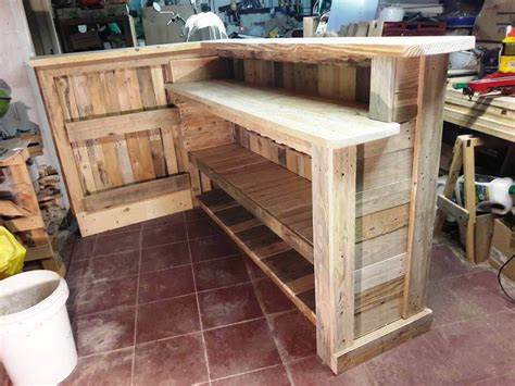 diy pallet bar  custom built  shelves easy pallet