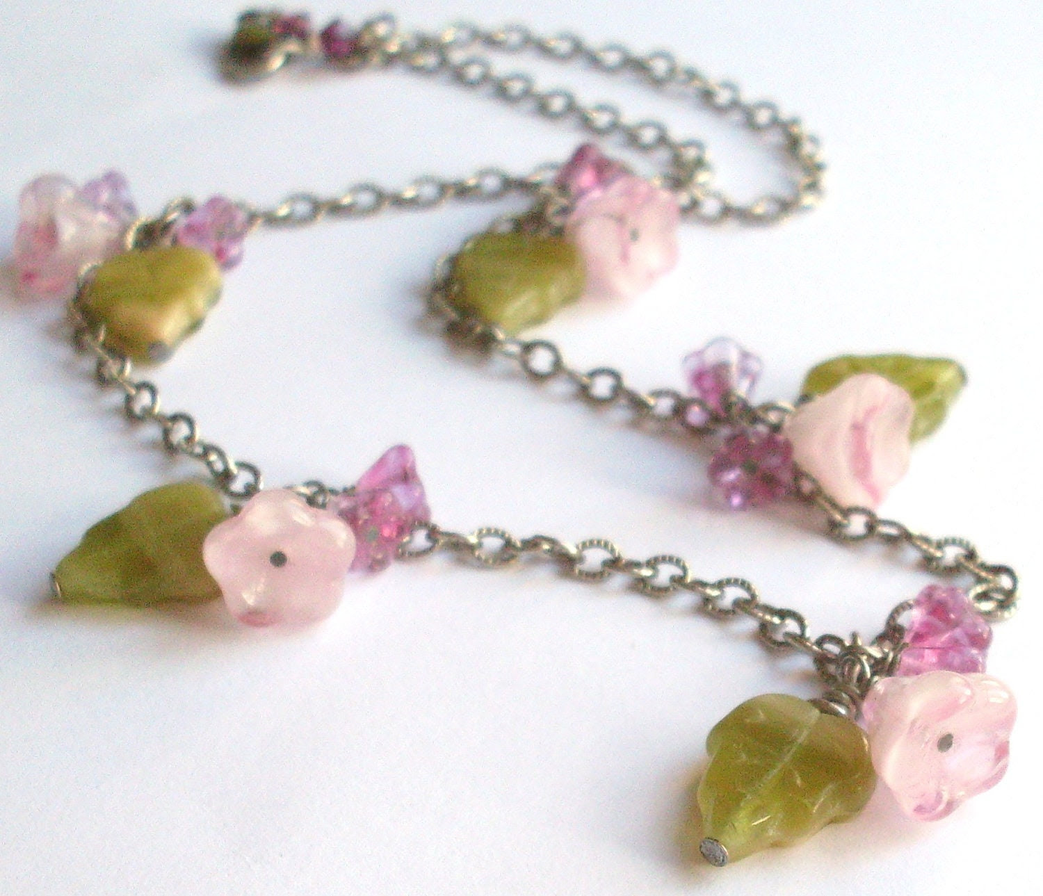 Flower leaf necklace - pink and green drop necklace. Flower bead necklace, dark silver chain. Spring blossoms flower jewelry, pink jewelry. - ArtfulTrinkets1