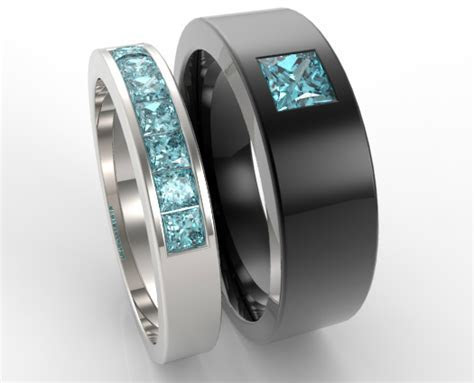 Unique Aquamarine Matching Bands For Him And Her   Vidar