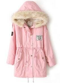 Pink Faux Fur Hooded Zipper Embellished Fleece Inside Military Coat