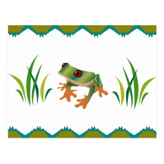 Tree Frog and Grass on Post Card