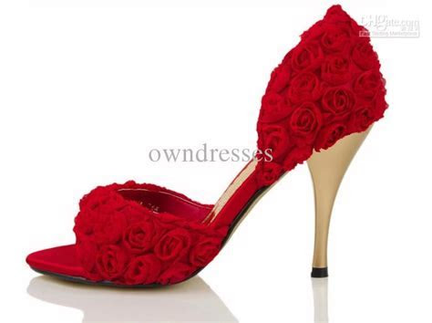 Wholesale Elegant Red Rose Slik Low Heels Bridal Sandals