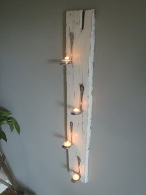Bent spoons to hold tea lights - great idea!