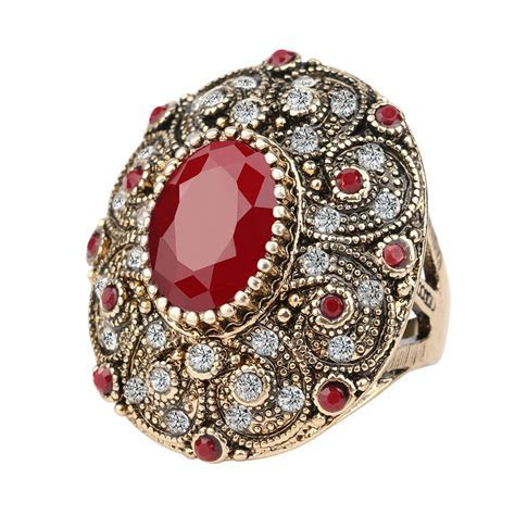 Fashion Vintage Jewelry Rings Unique Plated Ancient Gold