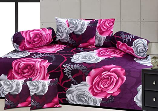 Zainhome Diwan Set Of 8 Pieces-Purple Floral (Best Seller)