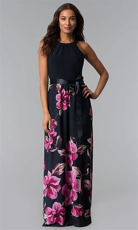 Long Sleeveless Navy Floral Print Wedding Guest Dress