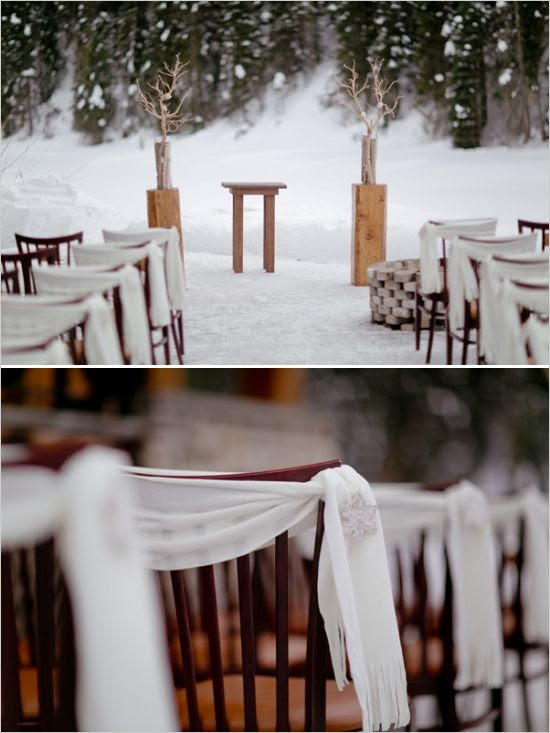 place scarves on chairs #weddingceremony #weddingideas #weddingchicks http://www.weddingchicks.com/2014/03/06/whimsical-winter-wedding/