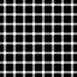The . Black spots seem to appear and disappear very fast at the intersections.