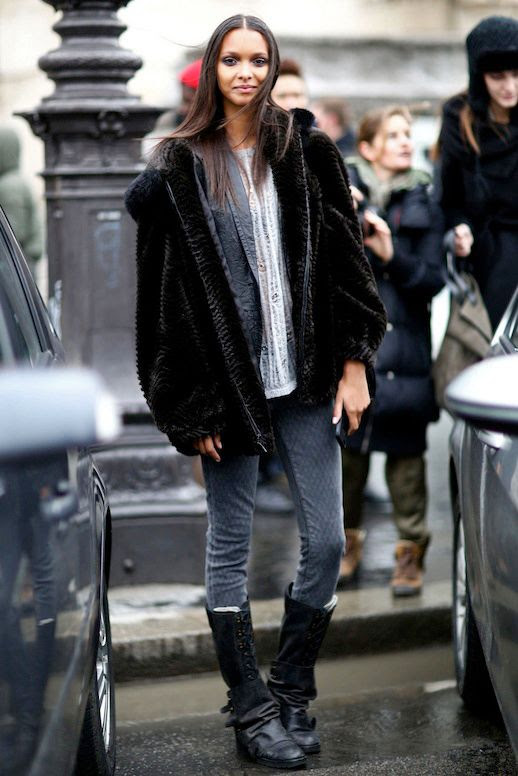 LE FASHION BLOG MODEL CRUSH LAIS RIBEIRO BRAZIL BRAZILIAN MODEL STYLE BISTRO STREET STYLE MODEL OFF DUTY BLACK FUR HOODED COAT SKINNY PRINT DENIM JEANS KNEE HIGH LACE UP BOOTS LONG HAIR 2 photo LEFASHIONBLOGMODELCRUSHLAISRIBEIROSTYLEBISTRO2.jpg