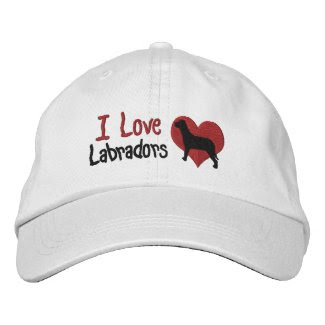 I Love Labradors Dog And Heart Embroidered Baseball Cap