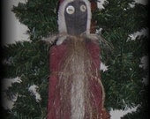 Primitive Santa Ornament, tuck, bowl filler