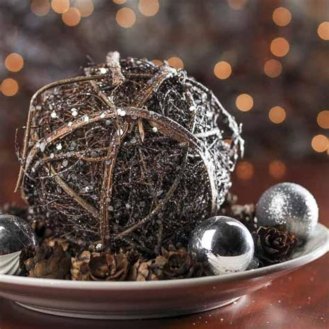 Large Glittered Rattan Ball   Table Decor   Christmas and
